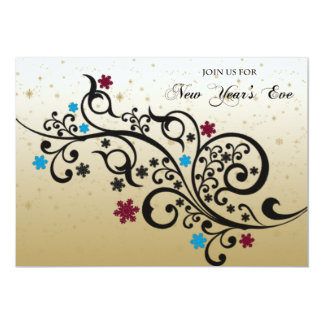 Black Red Blue Scroll Snowflake New Years Eve Card