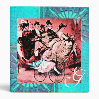 BLACK RED BLUE WHITE BICYCLE WEDDING  MONOGRAM BINDER