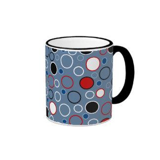 Black Red Blue White Circles Pattern Ringer Mug