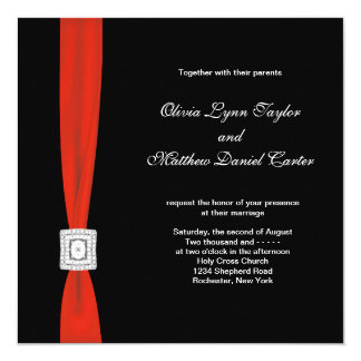 black red bow red black wedding card