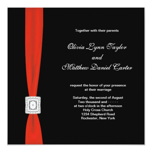 Black Red Bow Red Black Wedding Personalized Invites