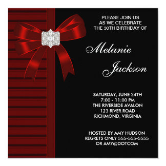Black Red Bow Womans 30th Birthday Party Card