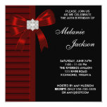 Black Red Bow Womans 30th Birthday Party Personalized Invitations