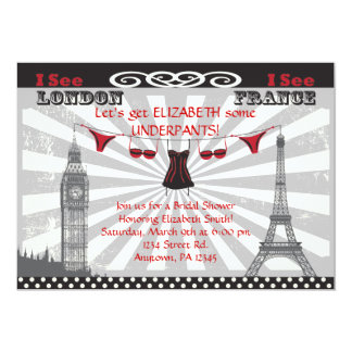 "Black & Red Bridal Shower Invitations 5"" X 7"" Invitation Card"