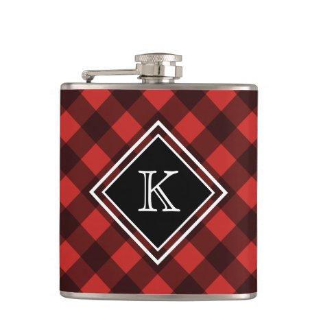Black Red Buffalo Check Custom Monogram Flask