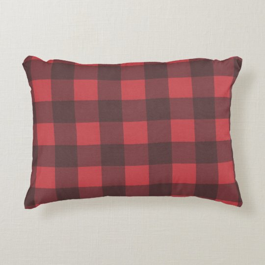 Black Red Buffalo Check Pattern Decorative Pillow Zazzle Awesome Black And Red Decorative Pillows