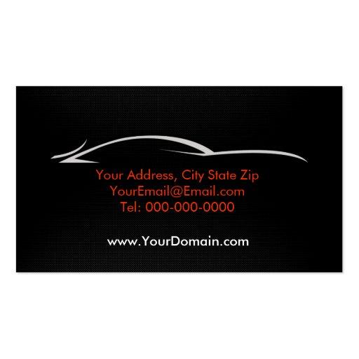 Black, Red, Car, Auto, Carbon Fiber  Business Card (back side)
