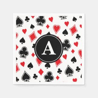 Black Red Card Game Poker Casino Monogram Paper Napkin
