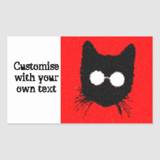 Black & Red Cat with Glasses Silhouette customise! Rectangular Sticker