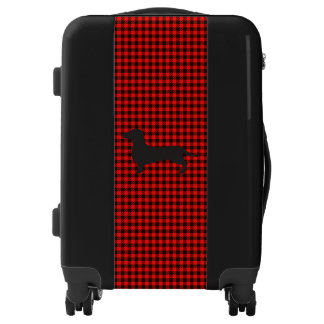 Black & Red Checks with Dachshund Carry-On Luggage