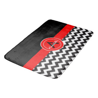 Black Red Chevron Bath Mat