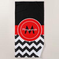 Black Red Chevron Beach Towel