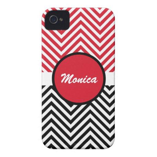 Black red chevron monogram iPhone 4 case