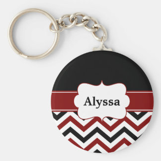 Black Red Chevron Personalized Keychain