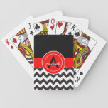 """Black Red Chevron Playing Cards<br><div class=""""desc"""">Black red chevron deck of playing cards</div>"""