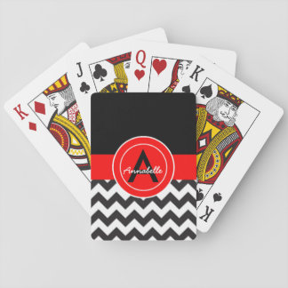 Black Red Chevron Playing Cards