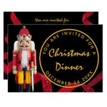 Black Red Christmas Eve Dinner Gold  Nutcracker Invitation