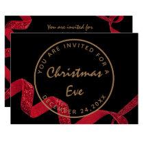 Black Red Christmas Eve Dinner Winter Invitation