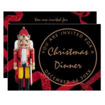 Black Red Christmas Eve Dinner Winter Nutcracker Invitation