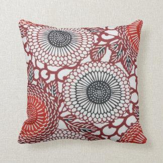Black & Red Chrysanthemums Pillow
