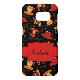 Black Red Coffee Cup Pattern Name Personalized Samsung Galaxy S7 Case