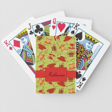 Coffee Themed Black & Red Coffee Cup Pattern Personalized Bicycle Playing Cards