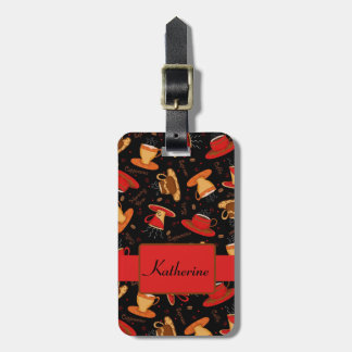 Black & Red Coffee Cup Pattern Personalized Luggage Tag