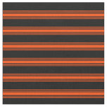 [ Thumbnail: Black & Red Colored Stripes Pattern Fabric ]