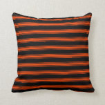 [ Thumbnail: Black & Red Colored Stripes Pattern Throw Pillow ]