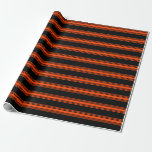 [ Thumbnail: Black & Red Colored Stripes Pattern Wrapping Paper ]