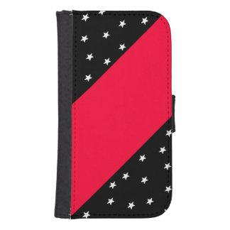 Black&Red con las estrellas y la caja del teléfono Billetera Para Galaxy S4