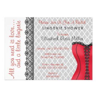 Black Red Corset Lingerie Bridal Shower Invite Cards