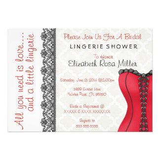 Black Red Corset Lingerie Bridal Shower Invite Invites