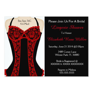 Black & Red Corset Lingerie Shower Invite