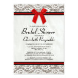 """Black & Red Country Lace Bridal Shower Invitations 5"""" X 7"""" Invitation Card"""