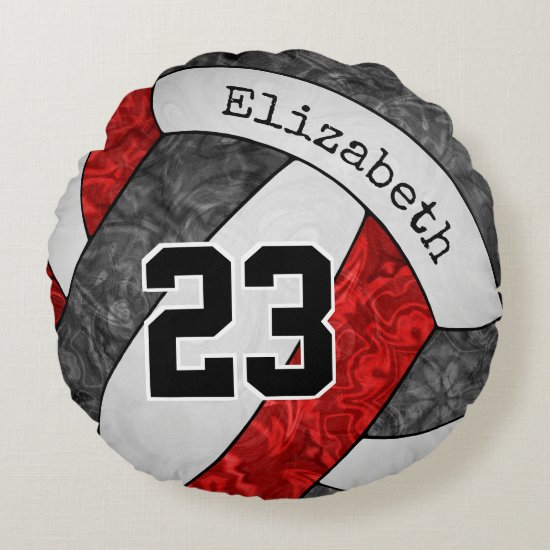 black red custom girls' volleyball team colors round pillow