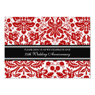 Black Red Damask 25th Anniversary Party Invitation