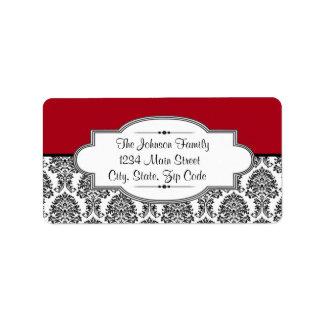 Black & red Damask address label, customizable Address Label