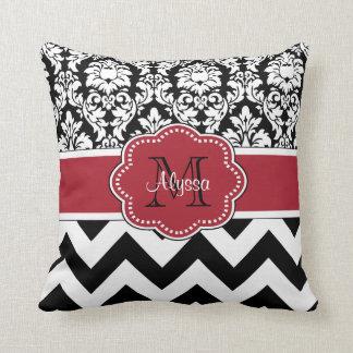 Black Red Damask Chevron Personalized Pillow