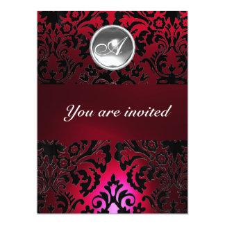 BLACK & RED DAMASK GEM STONE MONOGRAM burgundy Card