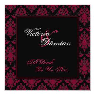 Black & Red Damask Gothic Wedding Card