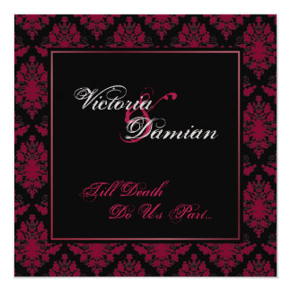 "Black & Red Damask Gothic Wedding 5.25"" Square Invitation Card"