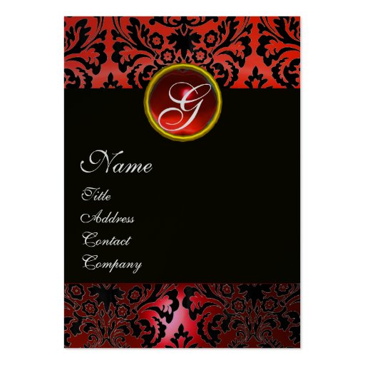 BLACK RED DAMASK MONOGRAM ,Ruby Silver Business Cards