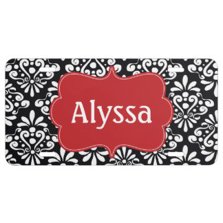 Black Red Damask Personalized License Plate