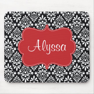 Black Red Damask Personalized Mousepad