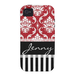 Black Red Damask Stripes Your Name Vibe iPhone 4 Case
