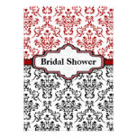 Black red damask wedding bridal shower invitation announcements