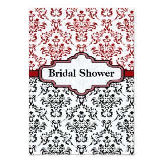 "Black red damask wedding bridal shower invitation 5"" x 7"" invitation card"