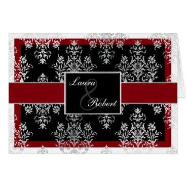 Black Red Damask wedding invitations