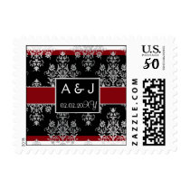 Black Red Damask wedding invitations Postage